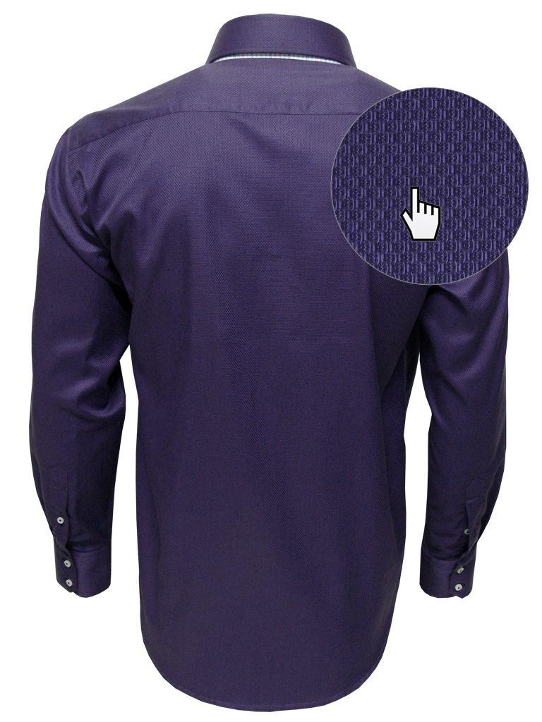 manaus chemise homme bi tons de couleur violette en coton gaufr et doublure plaid. Black Bedroom Furniture Sets. Home Design Ideas