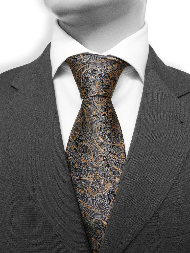 paisley 30 cravate luxe en cachemire marron et gris. Black Bedroom Furniture Sets. Home Design Ideas