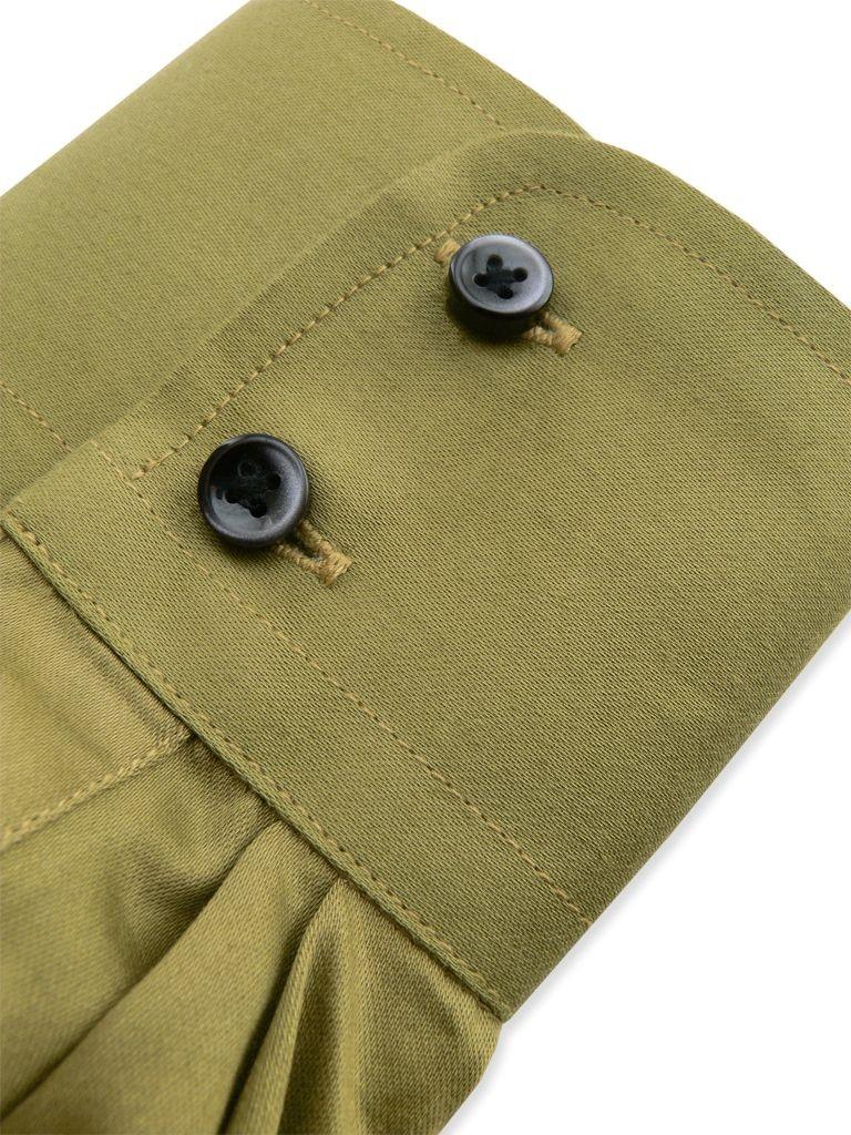 chemise fashion de couleur vert olive en satin de coton. Black Bedroom Furniture Sets. Home Design Ideas