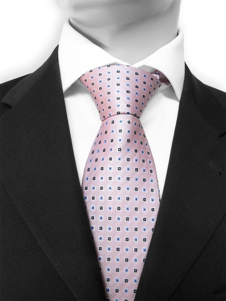 motive 200 cravate rose p le et motifs carr s bleus et noirs en soie naturelle teint es dans. Black Bedroom Furniture Sets. Home Design Ideas