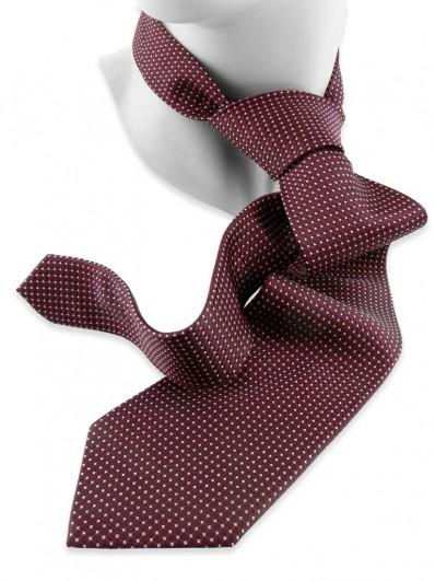 Motive 240 - Cravate de couleur rouge Bourgogne à motif en disques jointifs sur fond gris.