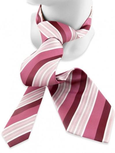 Stripe 180 - Cravate club en soie vieux rose et bordeaux.