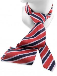 Stripe 190 - Cravate club rayée bleu et blanc sur fond rouge.