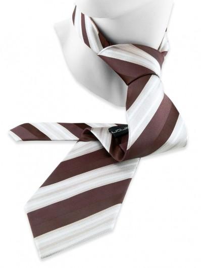 Stripe 220 - Cravate club de couleur brune et beige.