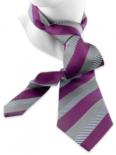 Stripe 240 - Cravate rayée bicolore, améthyste et grise.