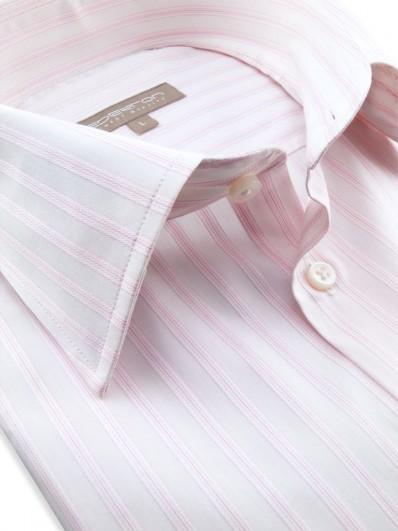 Crystal - Chemise blanche rayée blanc à fines lignes rosées