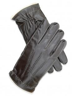 Glove 35 - Gant Homme Marron 100% cuir d'Agneau, avec doublure en pure Laine.