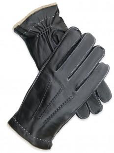Glove 30 - Gant Homme Noir 100% cuir d'Agneau, avec doublure en pure Laine.