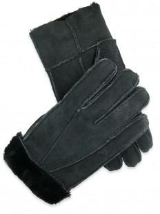 Glove 40 - Gant Homme en cuir de mouton retourné 100% naturel, teinté noir.