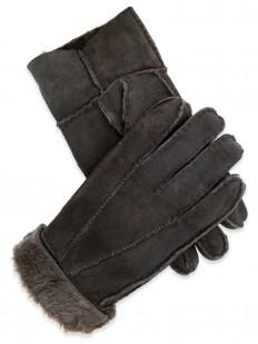 Glove 45 - Gant pour Homme en cuir de mouton retourné de couleur brun sombre.