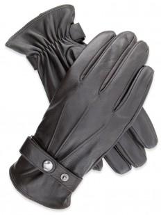 Glove 75 - Gant Homme marron en cuir de chèvre, avec bride à pression sur le poignet.