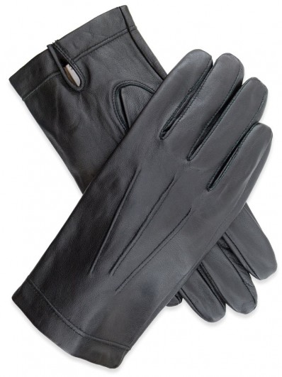 Glove 80 - Gant pour Homme en Cuir d'Agneau de couleur noire, avec doublure intérieure 100% Soie.
