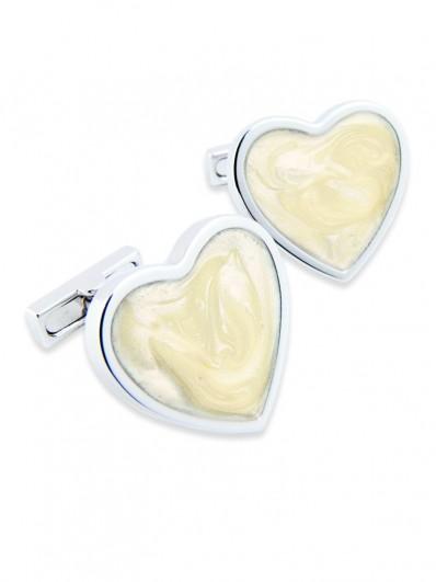 Enamel 170 - Bouton de manchette en forme de cœur en émail de couleur beige ivoire