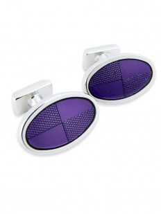 Boutons de manchette violet de forme ovale