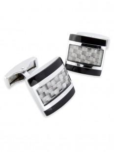 Carbon 50 - Bouton de manchette en fibre de carbone grise