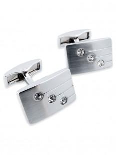 Crystal 190 - Bouton de manchette en métal brossé et diamants de cristal