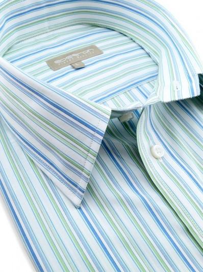 Tamatave - Chemise d'été à rayures vertes et bleues