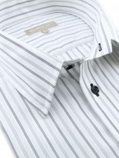 Chemise manches courtes à rayures noires et grises,