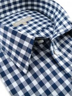 Valparaiso - Chemisette luxe à carreaux bleus motif Vichy