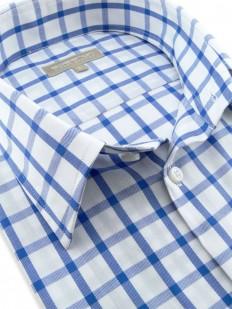 Malaga - Chemise manches courtes bleue et blanche à motif carreaux