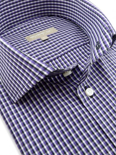 Sumatra - Chemisette à motif d'inspiration plaid violet et noir