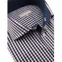 Chemise à petits carreaux Vichy brun et gris