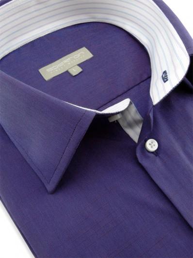 Sirte - Chemise coton unie violette bi-tons