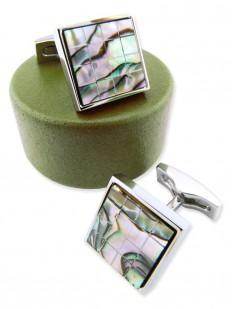 stone 60 bouton de manchette luxe en mosa que de nacre abalone reflets verts et bruns. Black Bedroom Furniture Sets. Home Design Ideas
