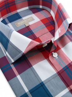 Cleveland - Chemise fashion à motif carreaux rouge et bleu