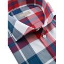 Chemise fashion à carreaux rouge et bleu