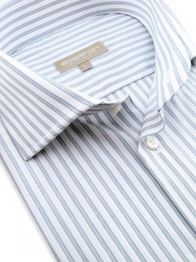 Bombay - Chemise à boutons de manchette et rayures gris-bleu