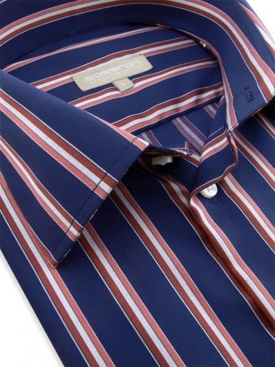 Lima - Chemise bleu nuit à bandes grises et rouges
