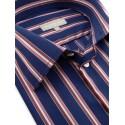 Chemise de ville bleu nuit à larges bandes grises et rouges