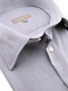 Chemise pur coton uni gris clair