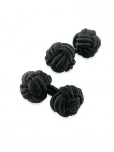 Knot 10 - Bouton de manchette en soie noire