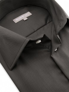 Caracas - Chemise à boutons de manchette en coton tissage chevron couleur brun chocolat