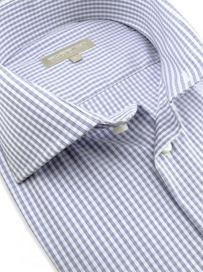 Melbourne - Chemise pour homme à carreaux de couleur parme coupe ajustée et poignet mousquetaire