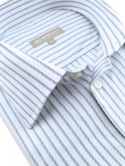 Dallas - Chemise blanche à rayures noires en coton haute qualité, tissage prestige