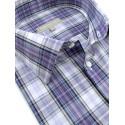 Chemise violet mauve à carreaux