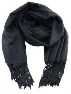 Scarf 80 - Écharpe Homme ou Femme en laine Pashmina de couleur noir carbone.