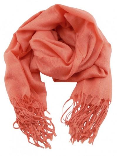 Scarf 110 - Écharpe Homme ou Femme en laine Pashmina de couleur orange corail.