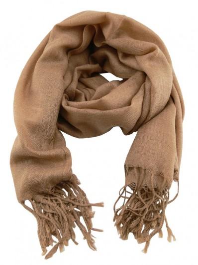 Scarf 220 - Écharpe Homme ou Femme en laine Pashmina de couleur bistre.