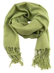Scarf 270 - Écharpe Homme ou Femme en laine Pashmina de couleur vert amande.