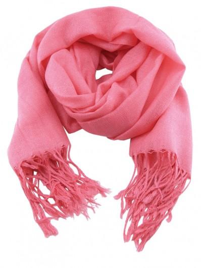 Scarf 260 - Écharpe Homme ou Femme en laine Pashmina de couleur rose incarnadin.