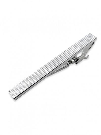 Clip 40 - Pince à cravate à pointes de diamants, en métal plaqué rhodium