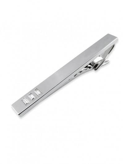 Clip 100 - Pince à cravate à rectangles de cristal Swarovski et placage rhodium.