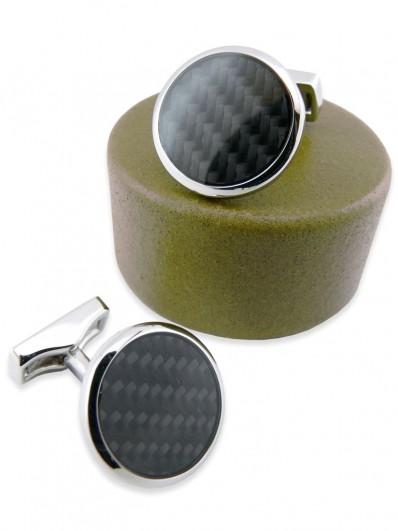 Carbon 80 - Bouton de manchette rond en fibre de carbone noire.