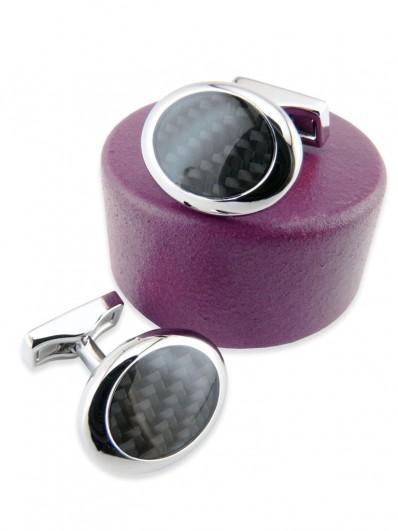 Carbon 100 - Bouton de manchette ovale en fibre de carbone noire et rhodium.