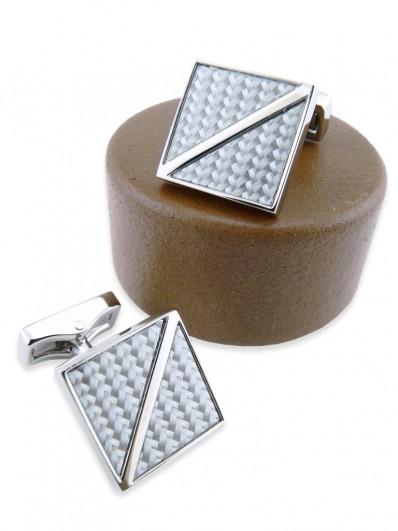 Carbon 110 - Bonton de manchette carré en fibre de carbone grise