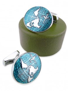 Bouton de manchette en métal émaillé bleu canard à motif planisphère